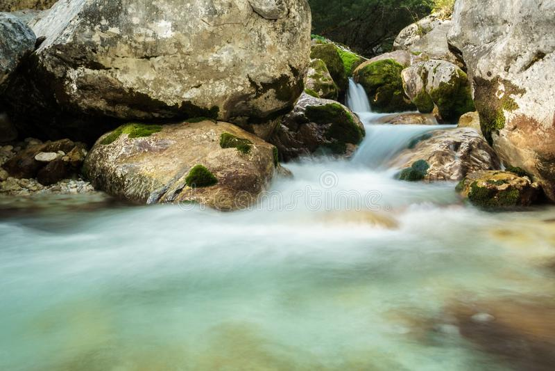 River Soca in the Triglav national park. In Slovenia royalty free stock images