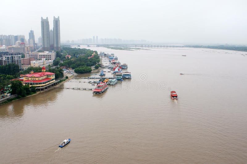 The river Songhua, Harbin, China. The top view stock images