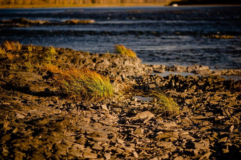 Quiet river water in the evening light background. River stones, Pebble river banks.great for gaming background, shot in warm evening light royalty free stock photos