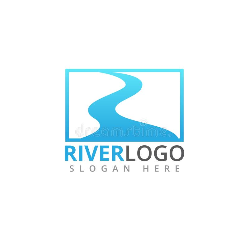 river stream flowing shape vector logo design vector illustration