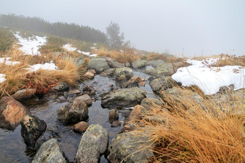 River stream in the fog at the Rila lakes stock images