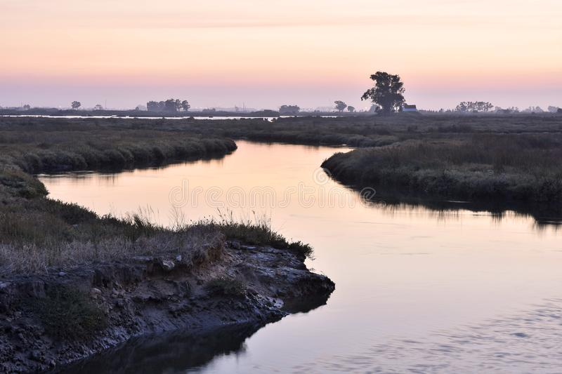 River meandering through grassy landscape Aveiro Portugal royalty free stock photos