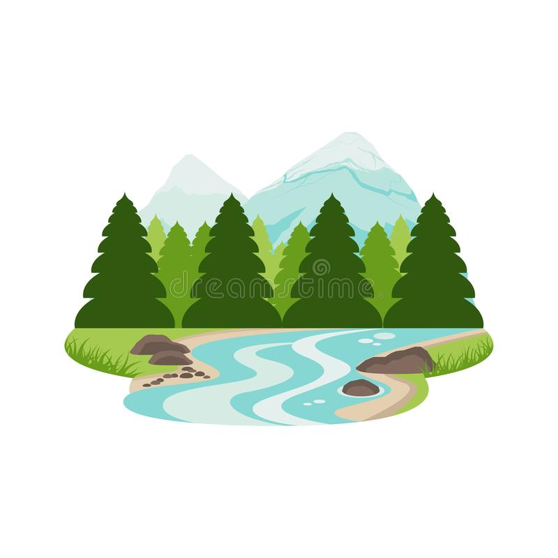 River Stream in Pine Forest Mountain Landscape stock illustration