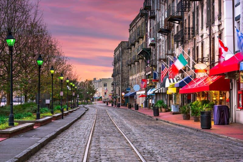 River Street in Savannah Georgia stock images