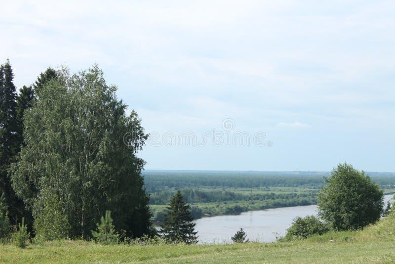 River summer shore landscape. The shore of the Russian river in the summer. Landscape stock photos