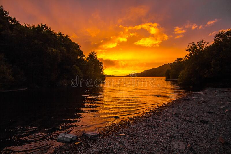 River during Sunset stock photography
