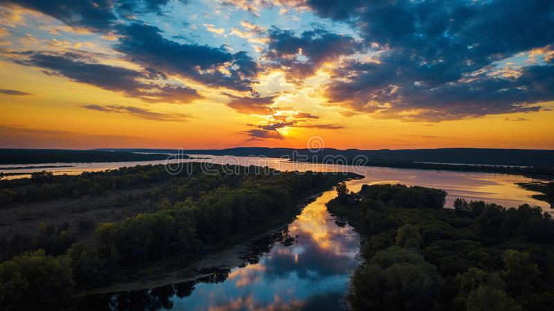 River sunset aerial stock photography