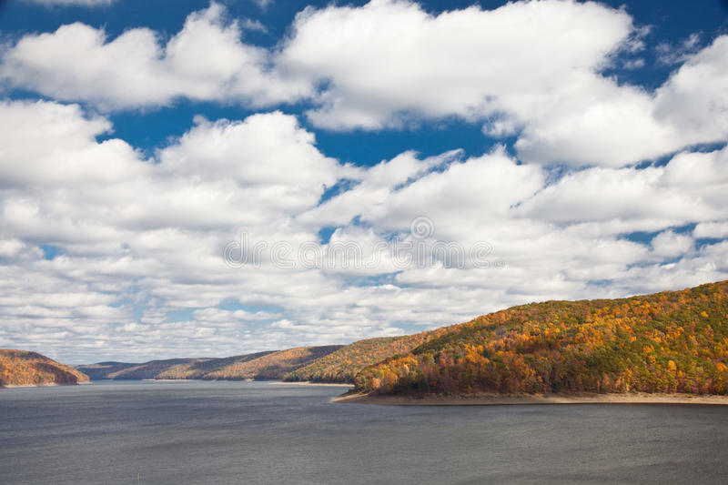 Download River Surrounded By Autumn Forest Mountains Stock Photo - Image: 27580790