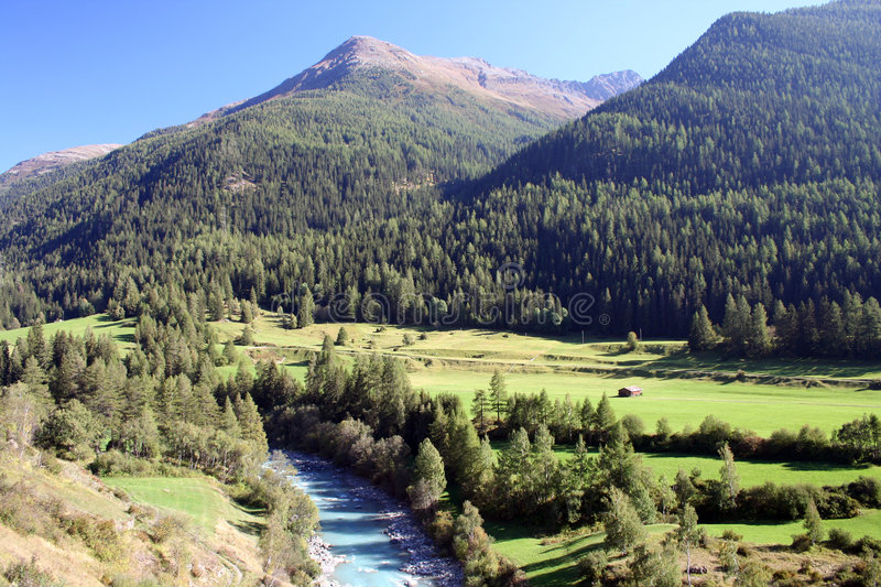 Download River In Swiss Alps Landscape Stock Image - Image: 4257937