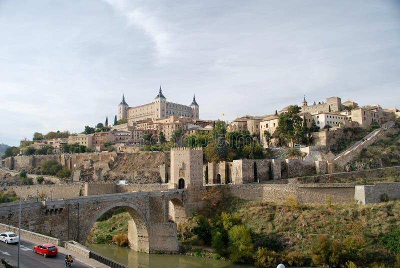 The river Tage of Toledo in Spain. The Alcazar in Toledo, Spain stock image