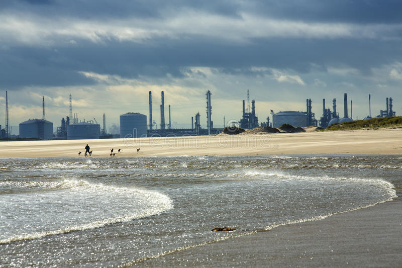 River Tees Estuary. Industrial plant on the estuary of the River Tees, near Hartlepool and Middlesbrough, in Cleveland, England, with steam emissions, viewed stock photo