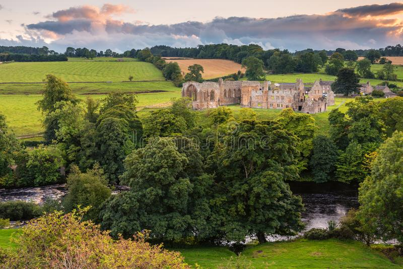 River Tees flows past Egglestone Abbey royalty free stock photos