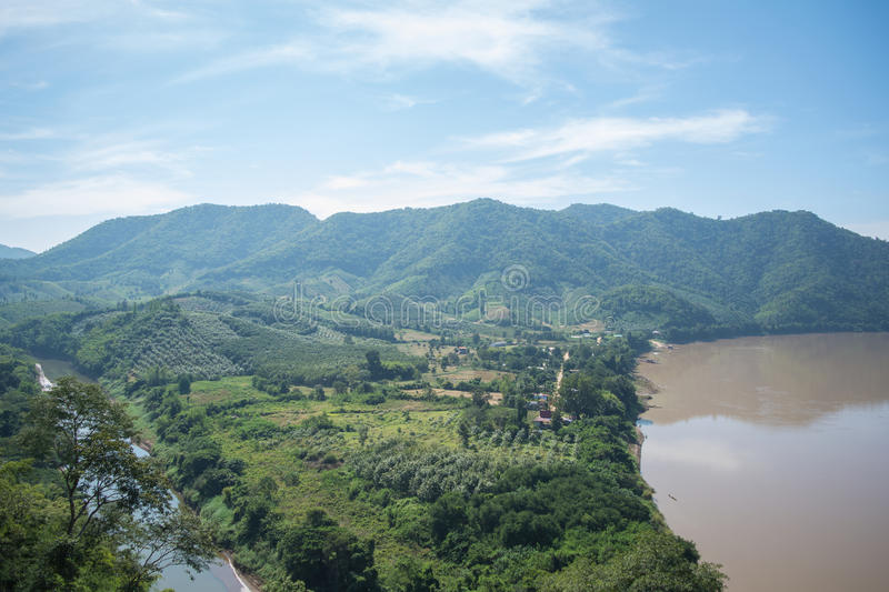 River in thailand. The name is Mekong River stock photography