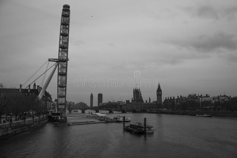 River Thames. Embankment shot in Black and White. London Eye and Clock Tower (Big Ben) included royalty free stock images
