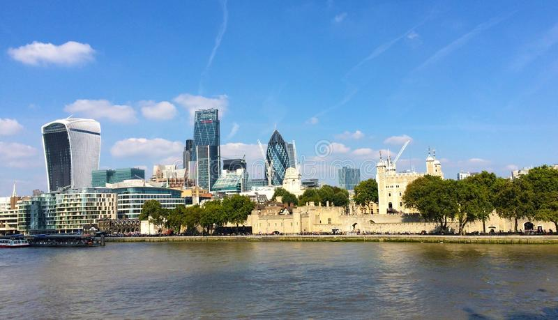 River Thames London Landscape. An photograph showing a London landscape by the River Thames showing landmark iconic modern buildings featuring the Gherkin stock photos