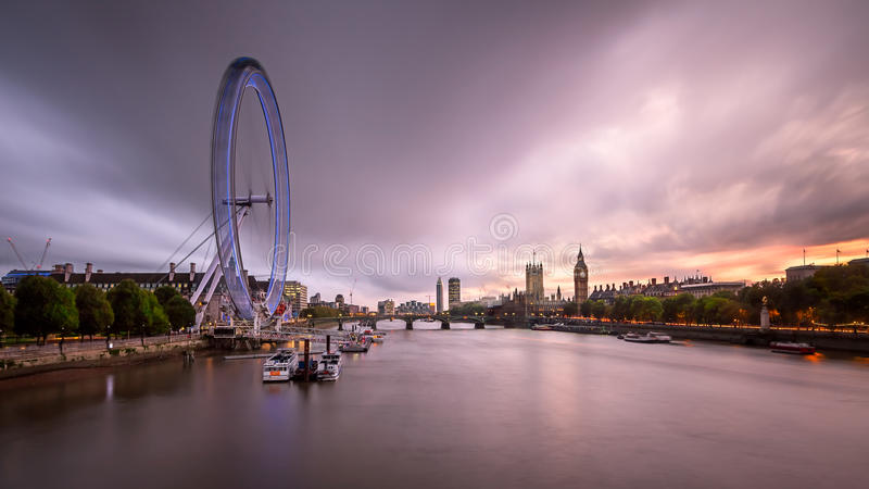 River Thames, Westminster Palace and London Skyline in the Evening, United Kingdom royalty free stock photo