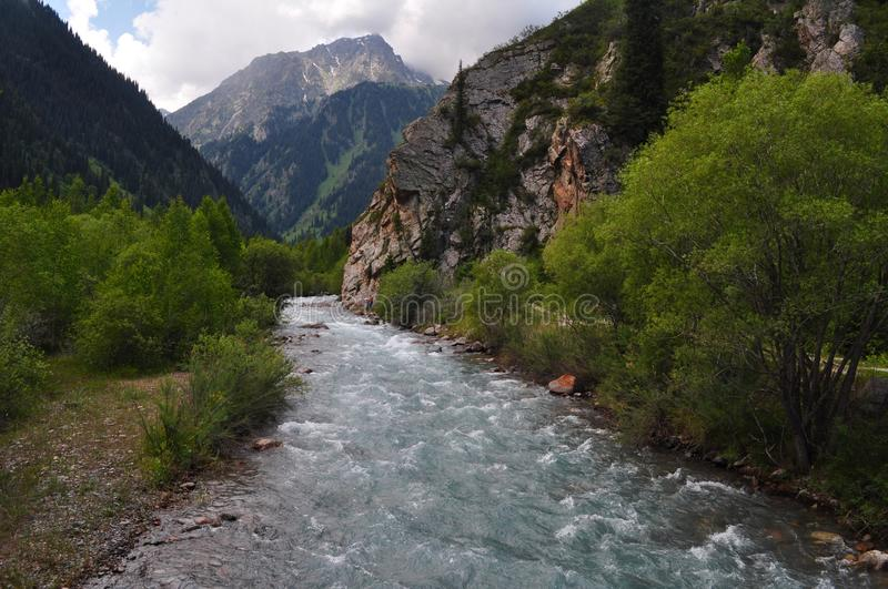 River in Tian Shan mountains royalty free stock photo