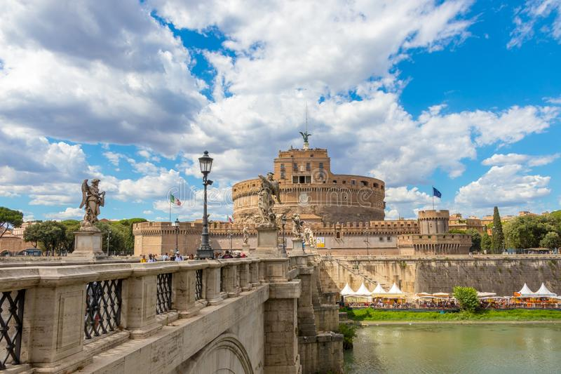 River Tiber and the castel Sant`Angelo, claudy weather, Rome, Italy. Castel Sant`Angelo and bridge Ponte Sant`Angelo over the Tiber river in Rome, Italy stock images
