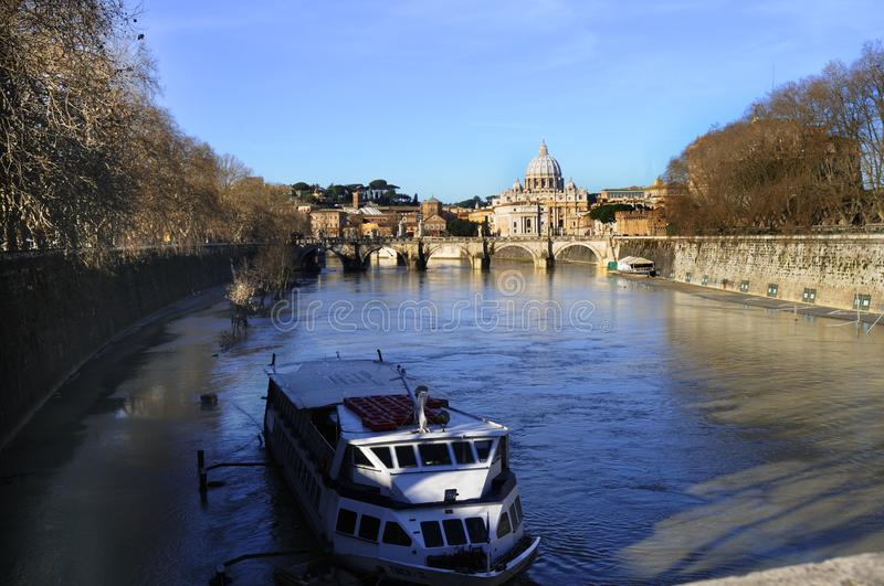 The River Tiber that divides ome Italy royalty free stock images