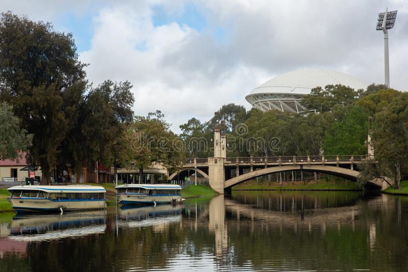 The river torrens with Popeye river boats and the iconic adelaide oval in the background on 16th October 2019 royalty free stock photo