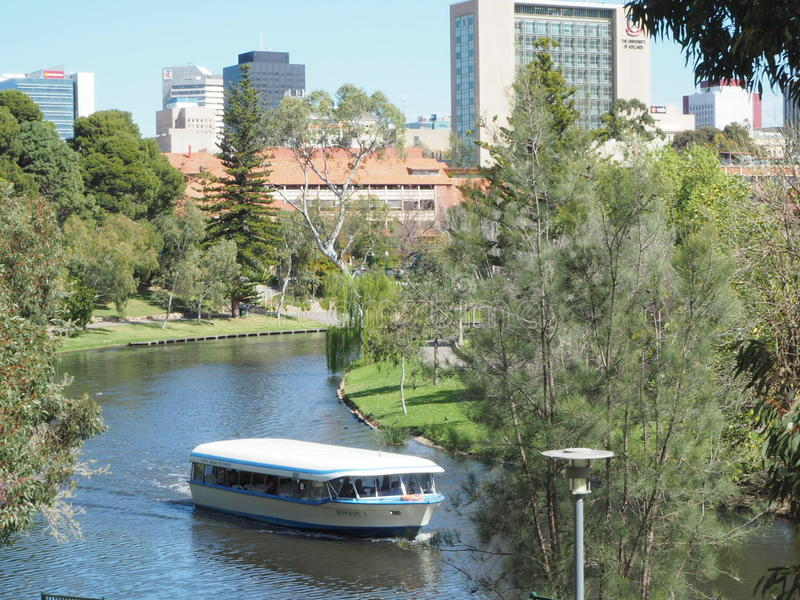 River Torrens Popeyes boat. River Torrens in the springtime of Adelaide royalty free stock photos