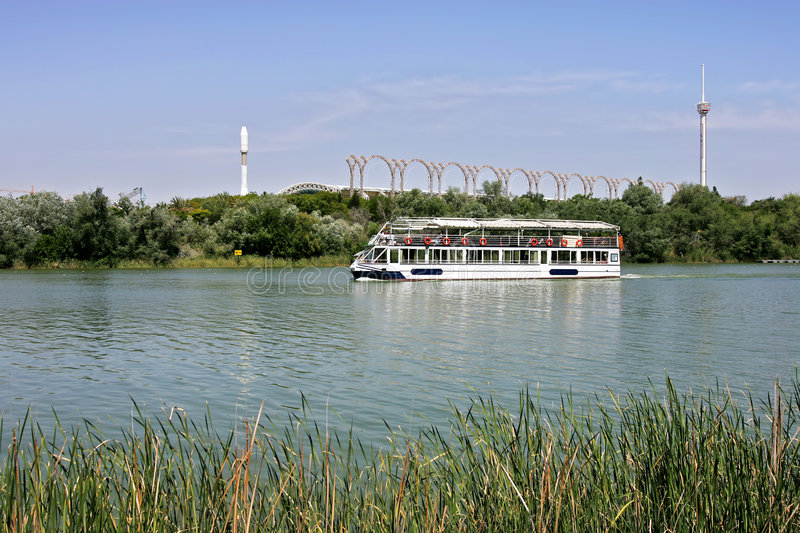 River tour boat on the Guadalquivir in Seville. Andalucia Spain royalty free stock photography