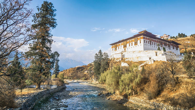 The river with traditional bhutan palace, Paro Rinpung Dzong, stock images