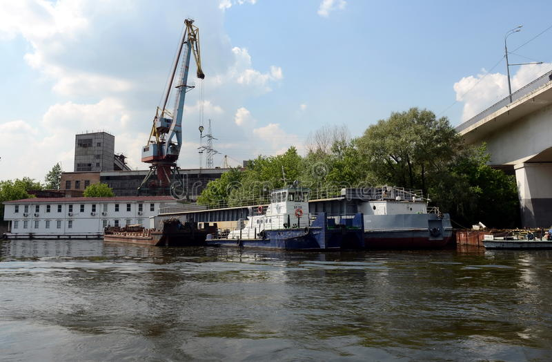 River tug-pusher at the Western river port in Moscow. stock photo