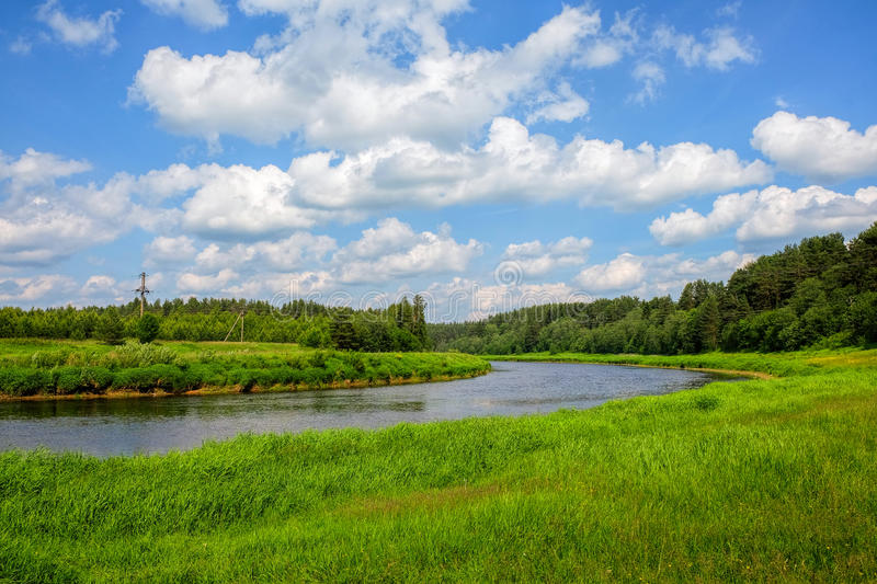 The river Tvertsa. Tvertsa is a river in Tver oblast of the Russian Federation, a left tributary of the Volga (flows into her in the city Tver, Russia). Length royalty free stock photo