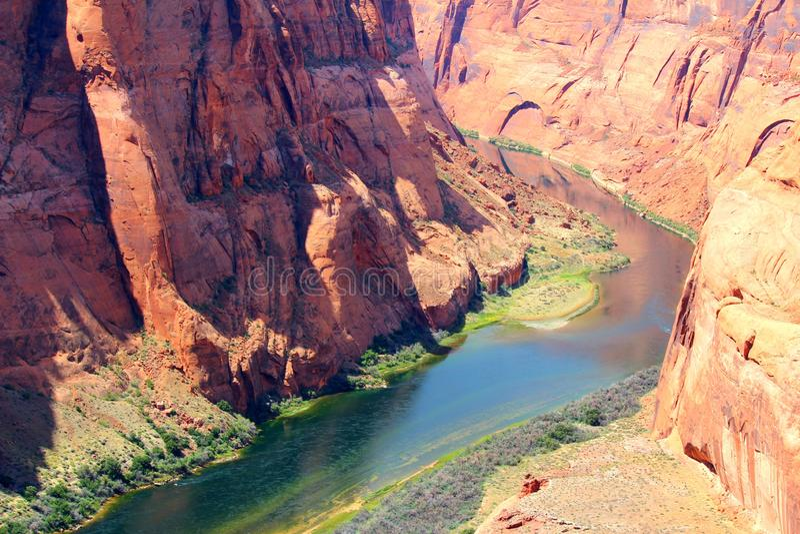 A river unsurprisingly through the canyon stock photography
