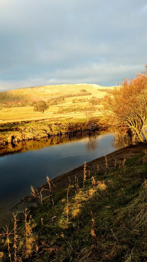 River Ure and staffs fell in January royalty free stock image