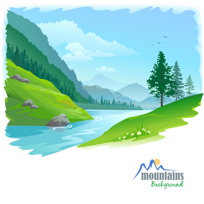 Download River in a Valley stock vector. Image of green, hill - 28033380