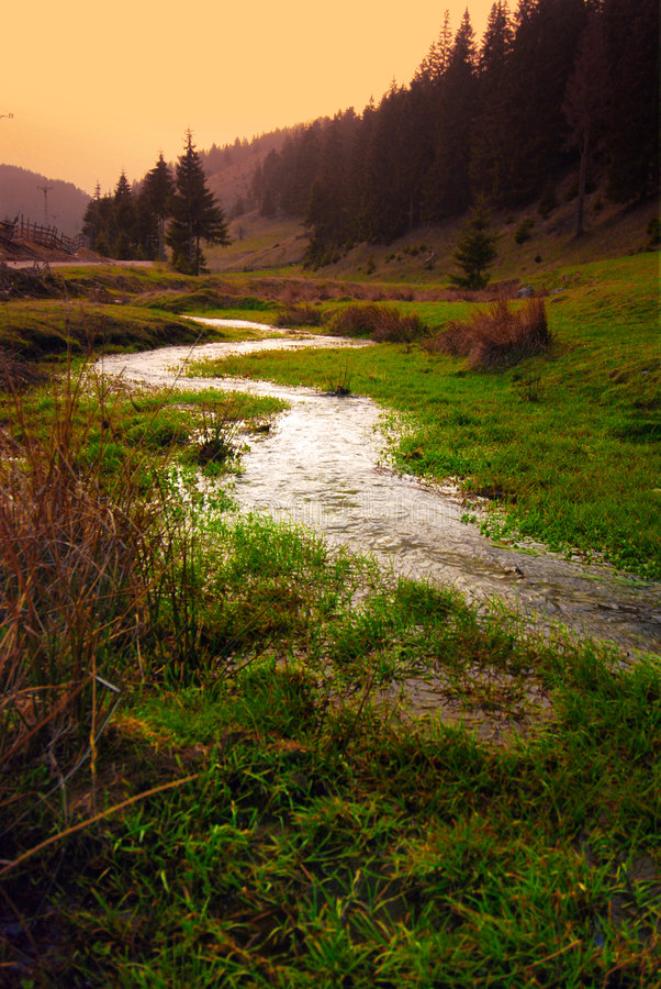 River in valley stock photos