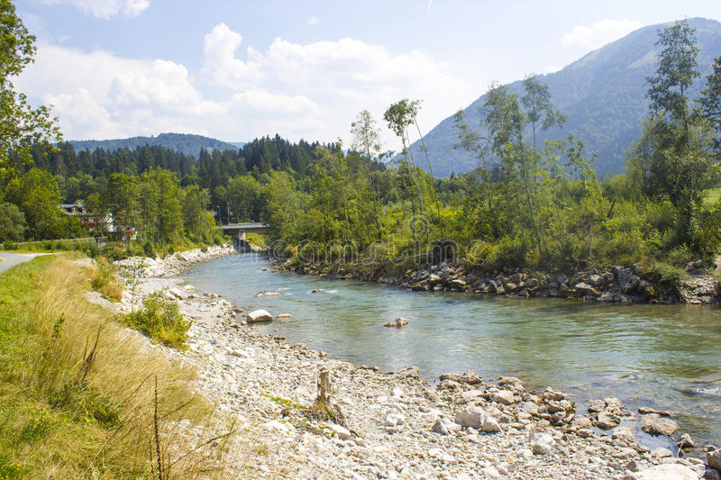 River in a valley of the Austrian Alps royalty free stock image