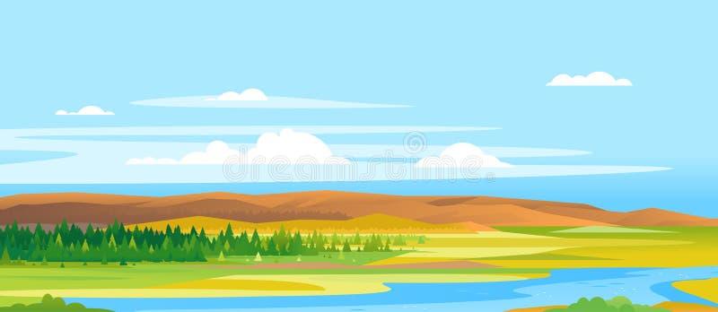 River Valley Forest Landscape Background vector illustration