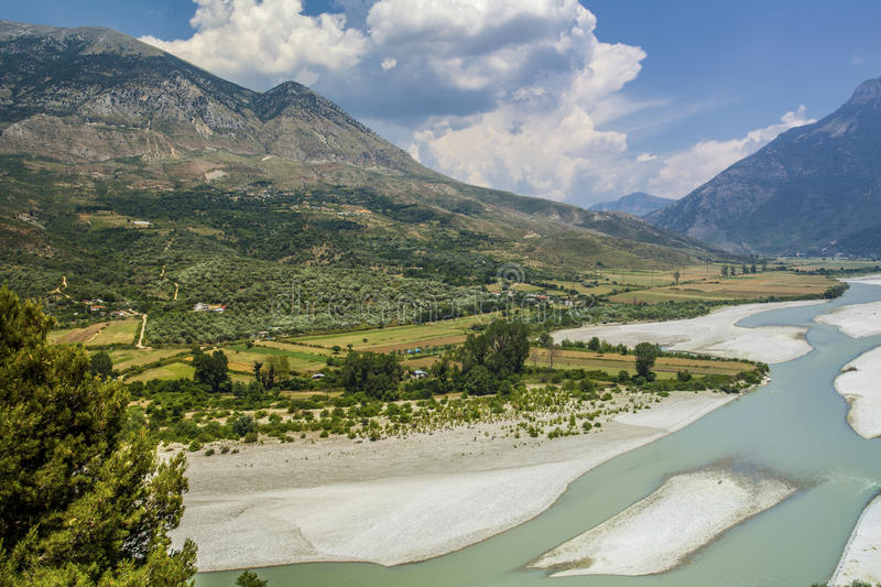 River Valley and Mountains Landscape Albania Tepelena stock image