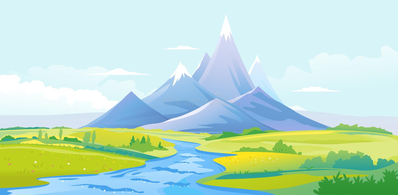 River valley in mountains vector illustration