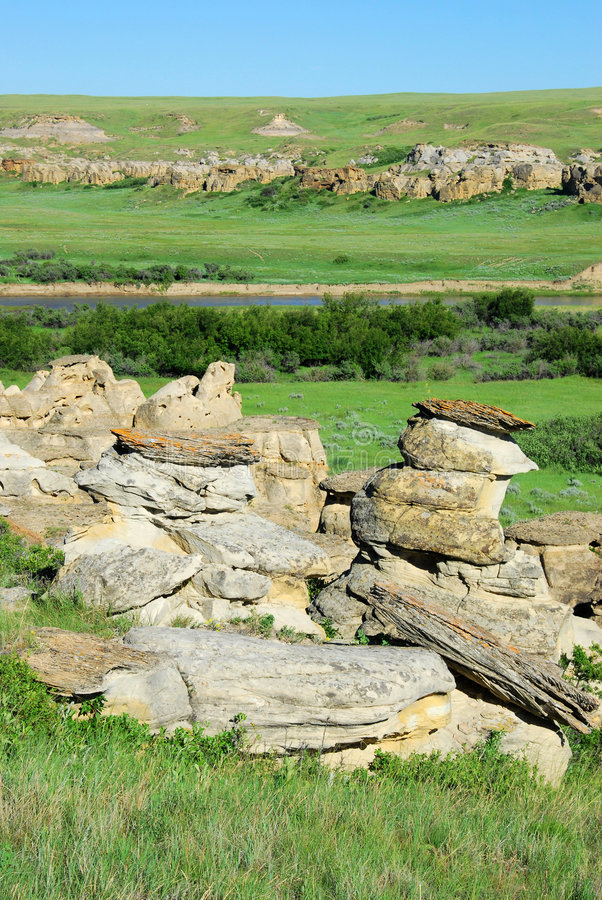 River valley and sandstone field royalty free stock photos