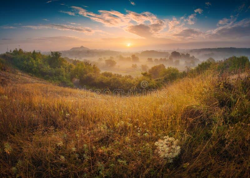 River Valley täckte med morgondimma arkivfoton
