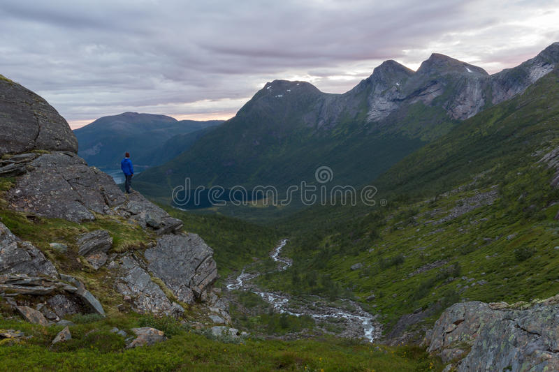 River valley. Viewpoint from highground over valley and river, lake and mountain scenery royalty free stock photos