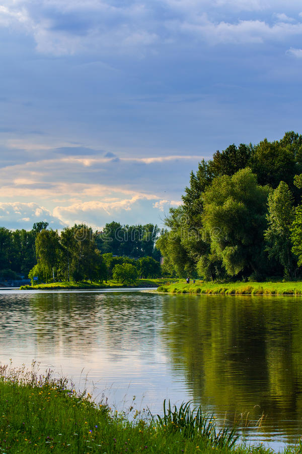 River view. View on the river Labe ( Elbe ) near Neratovice in Czech Republic royalty free stock photography
