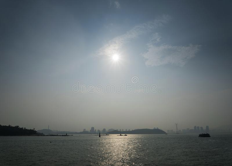 River view and skyline in xiamen city china stock images