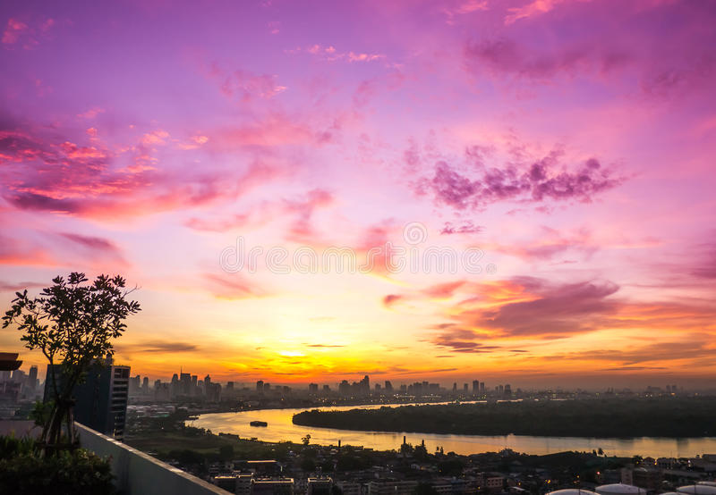 River view sunrise in the lovely morning. River view cityscape sunrise in the lovely morning royalty free stock photography