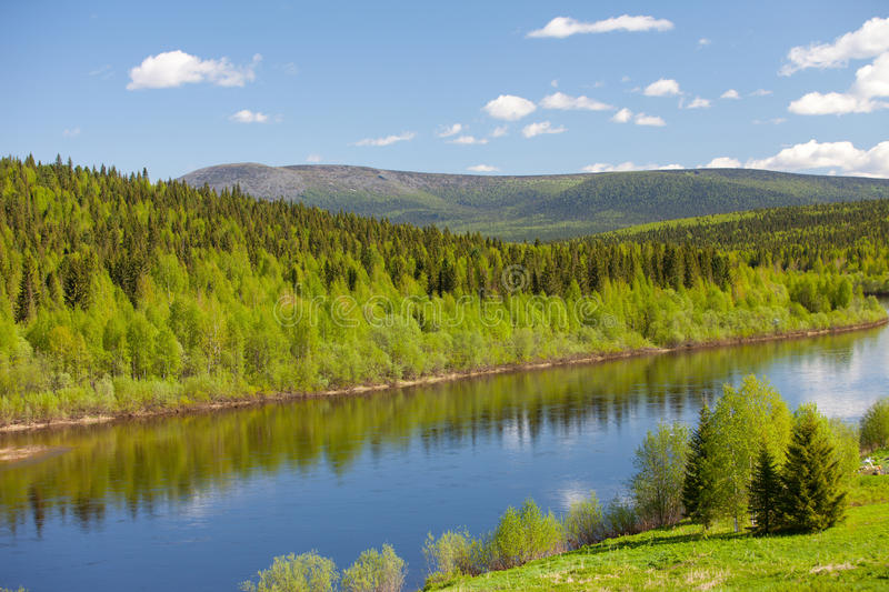 River Vishera. Ural mountains. Summer landscape. River Vishera. Ural mountains royalty free stock photography