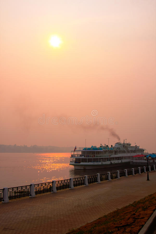 River Volga and cruiser royalty free stock photography
