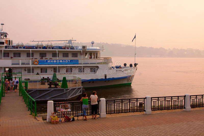 River Volga and cruiser stock photos