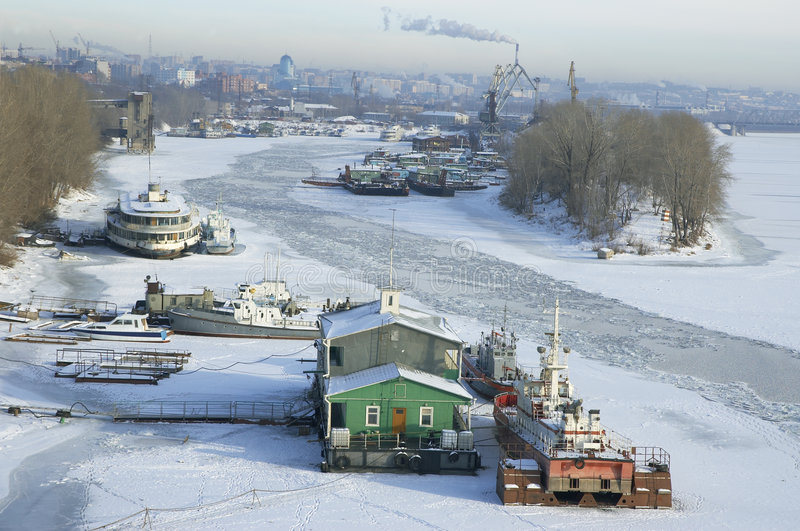 Download River Volga in winter time stock image. Image of town, freeze - 466773