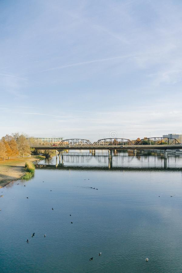 River. WACO, UNITED STATES - Nov 30, 2019: Shoot overlooking the river and Wacos bridge stock photo