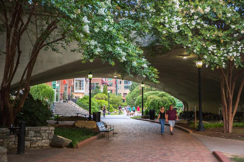River Walk in Downtown Greenville, South Carolina stock photo