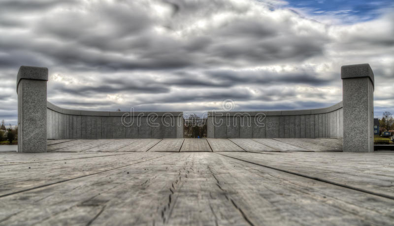 River Walk Lookout Spot in Umeå, Sweden. With clouds royalty free stock photography